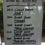 A list of the Trinity Hill wines served during a class.