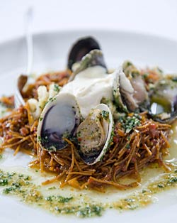 Javier's Angel Hair Pasta, Sofrito, Shellfish Deglazed with Tio Pepe & Picada Ali-Oli