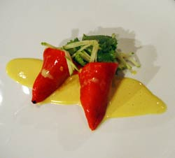 Javier's Piquillo Peppers Stuffed with Salted Cod Brandade, Pil Pil Sauce & Apple Petite Salad