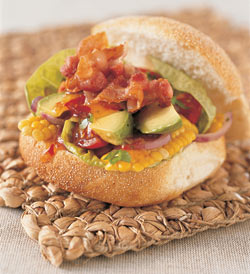 Avocado, Bacon & Corn Baps
