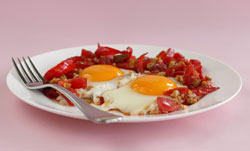 Tunisian Eggs with Red Peppers